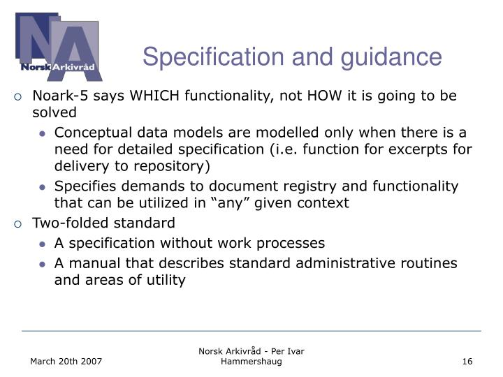 Specification and guidance