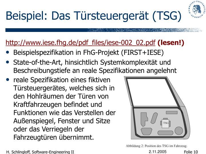 Beispiel: Das Türsteuergerät (TSG)