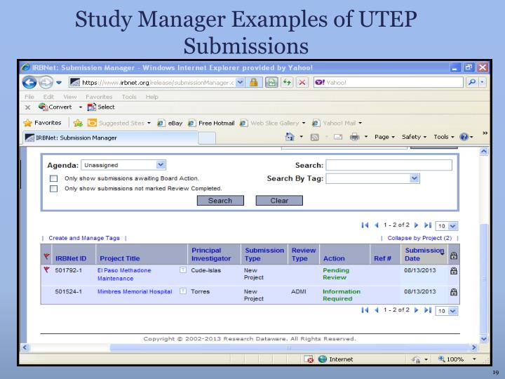Study Manager Examples of UTEP Submissions