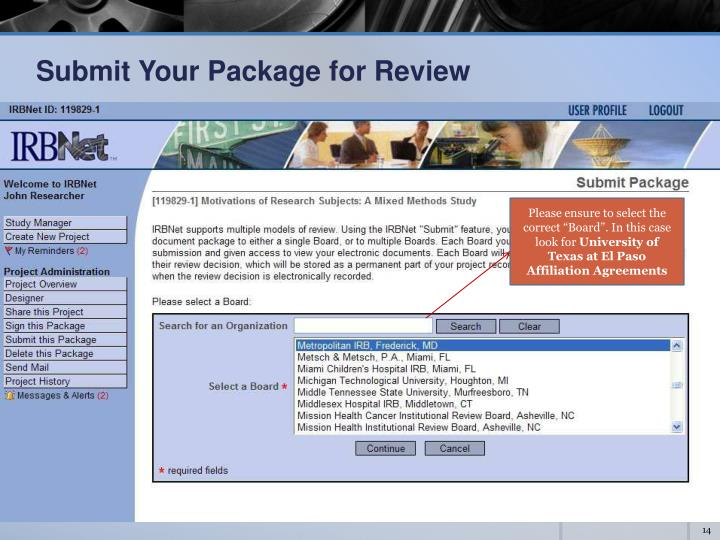 Submit Your Package for Review