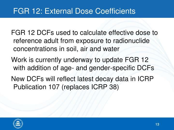 FGR 12: External Dose Coefficients