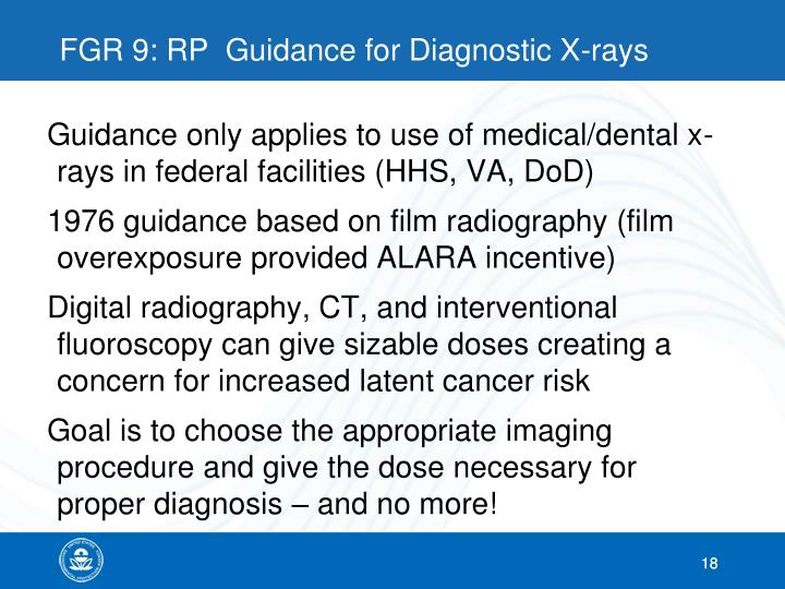 FGR 9: RP  Guidance for Diagnostic X-rays