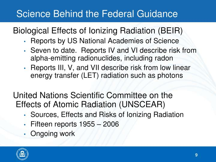 Science Behind the Federal Guidance