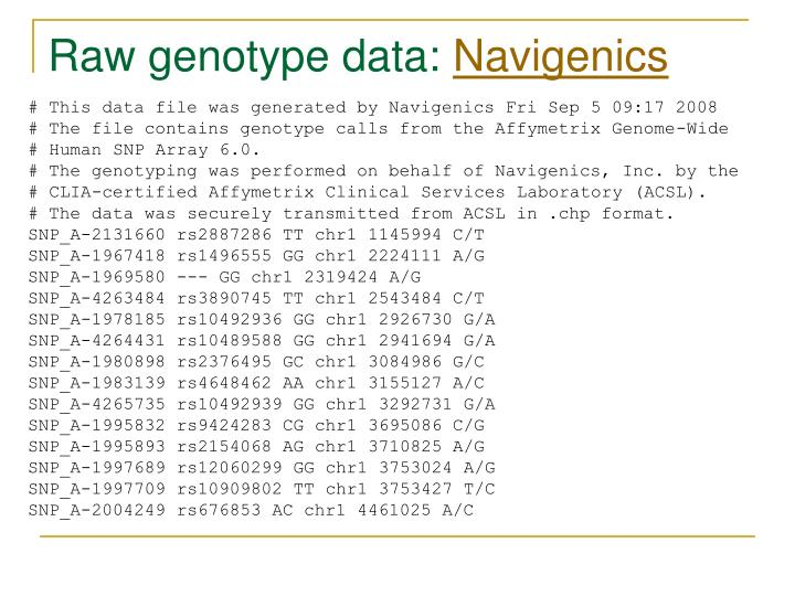 Raw genotype data: