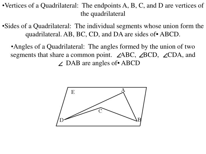 Vertices of a Quadrilateral:  The endpoints A, B, C, and D are vertices of the quadrilateral