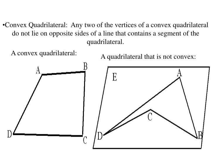 Convex Quadrilateral:  Any two of the vertices of a convex quadrilateral do not lie on opposite sides of a line that contains a segment of the quadrilateral.