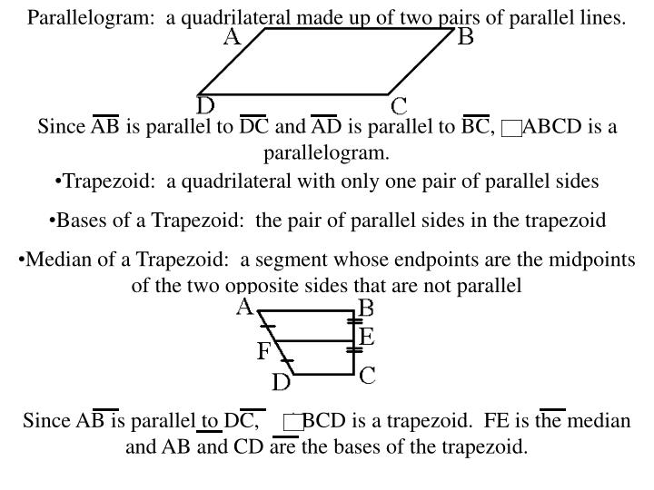 Parallelogram:  a quadrilateral made up of two pairs of parallel lines.