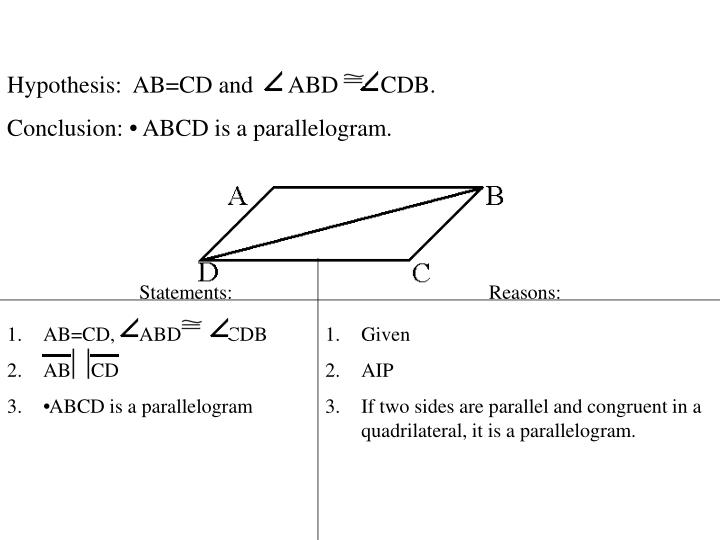 Hypothesis:  AB=CD and      ABD       CDB.
