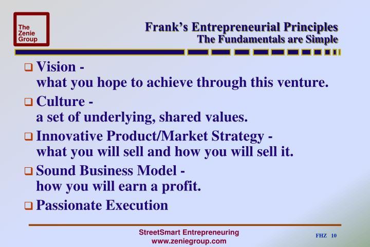 Frank's Entrepreneurial Principles