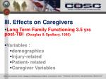 iii effects on caregivers