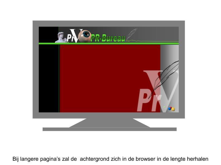 Bij langere pagina's zal de  achtergrond zich in de browser in de lengte herhalen