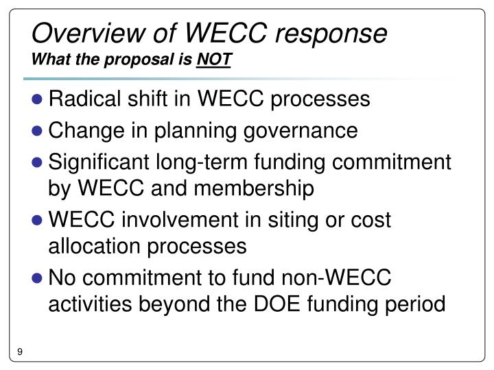 Overview of WECC response