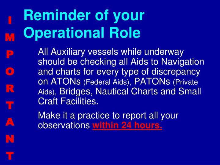Reminder of your Operational Role