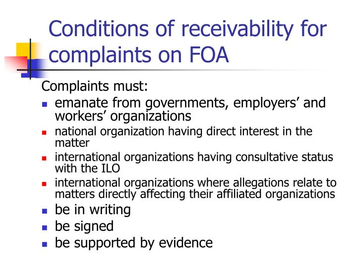 Conditions of receivability for complaints on FOA