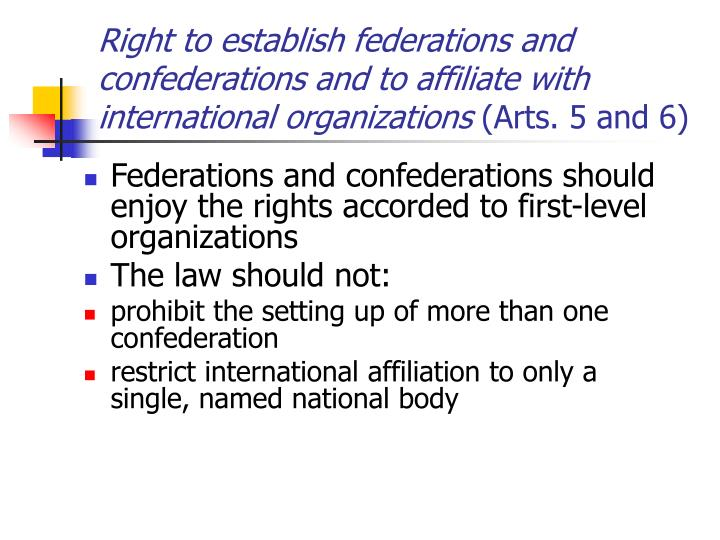Right to establish federations and confederations and to affiliate with international organizations