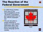 the reaction of the federal government