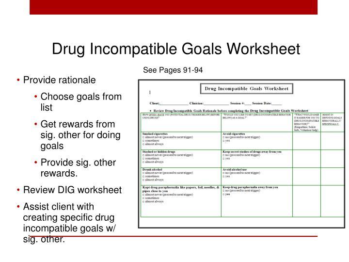 Drug Incompatible Goals Worksheet
