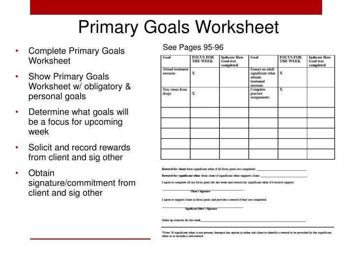 Primary Goals Worksheet