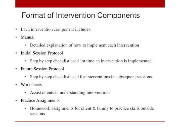 Format of Intervention Components