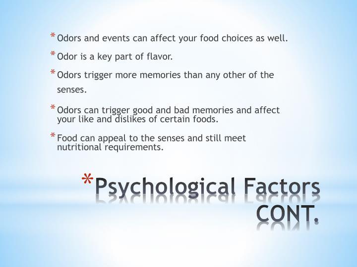 Psychological factors cont
