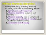 milling machine selection