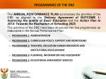 programmes of the dbe
