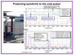 protecting sensitivity to the crab pulsar