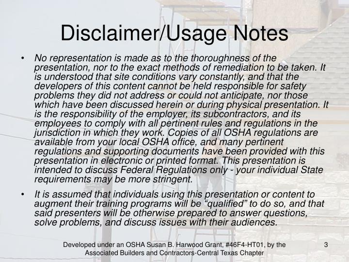 Disclaimer usage notes1
