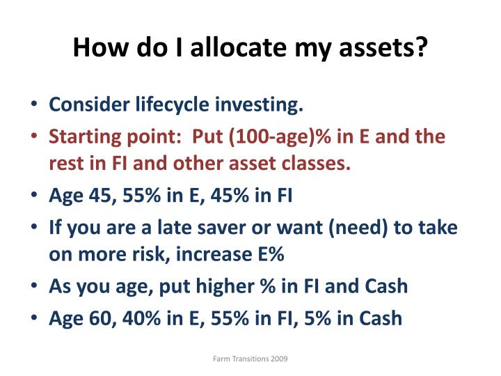 How do I allocate my assets?