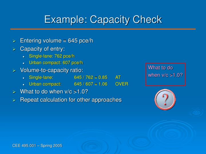 Example: Capacity Check