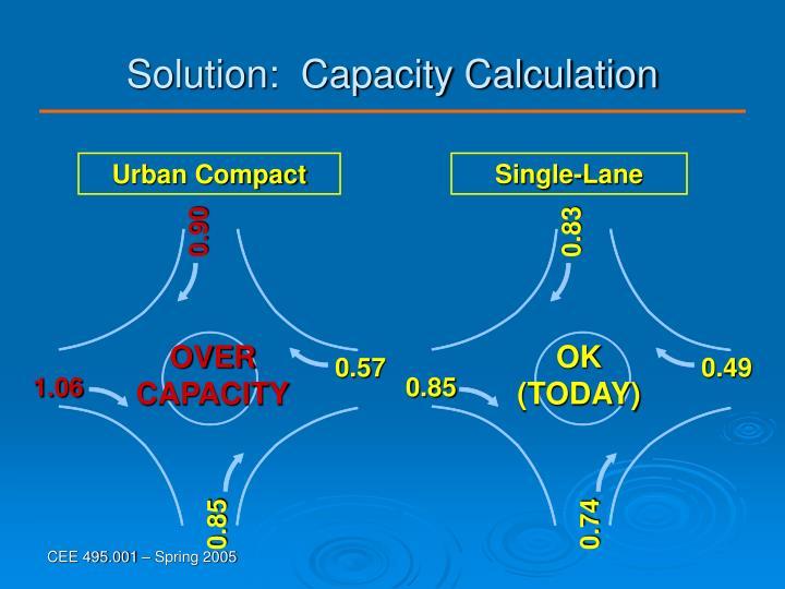 Solution:  Capacity Calculation