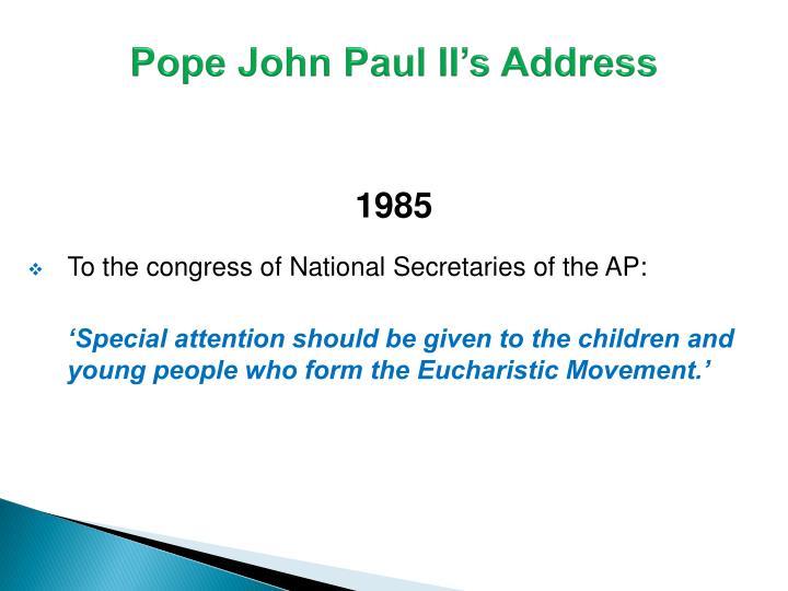 Pope John Paul II's Address