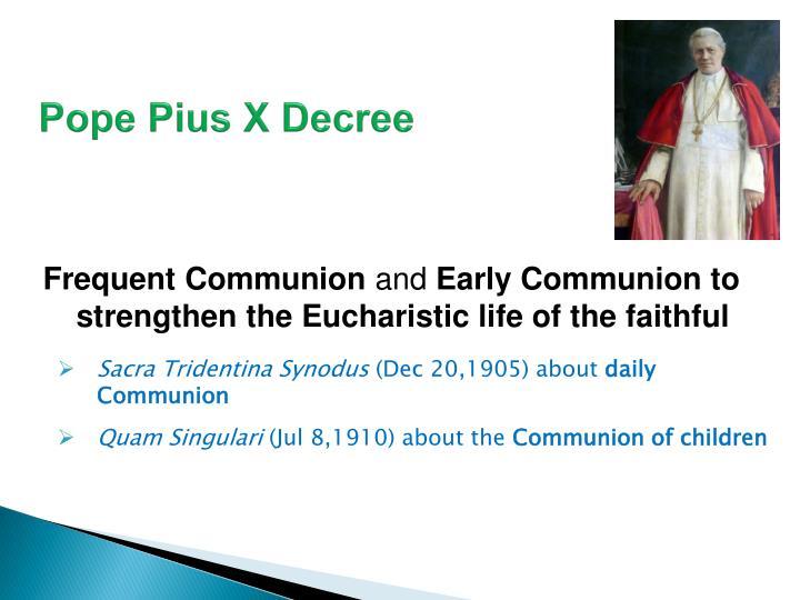 Pope Pius X Decree