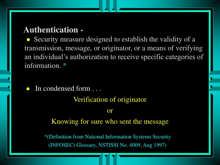 Authentication -