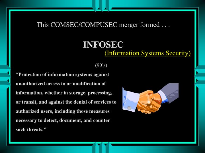 This COMSEC/COMPUSEC merger formed . . .