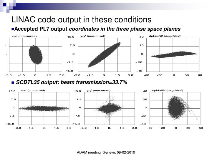 LINAC code output in these conditions