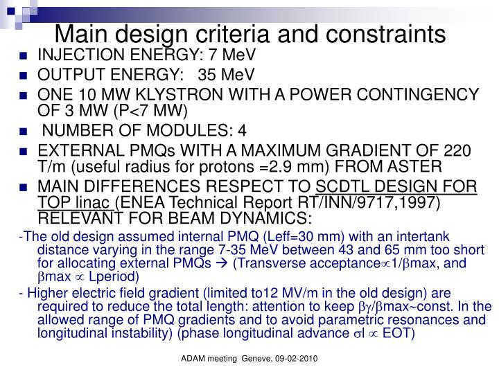 Main design criteria and constraints