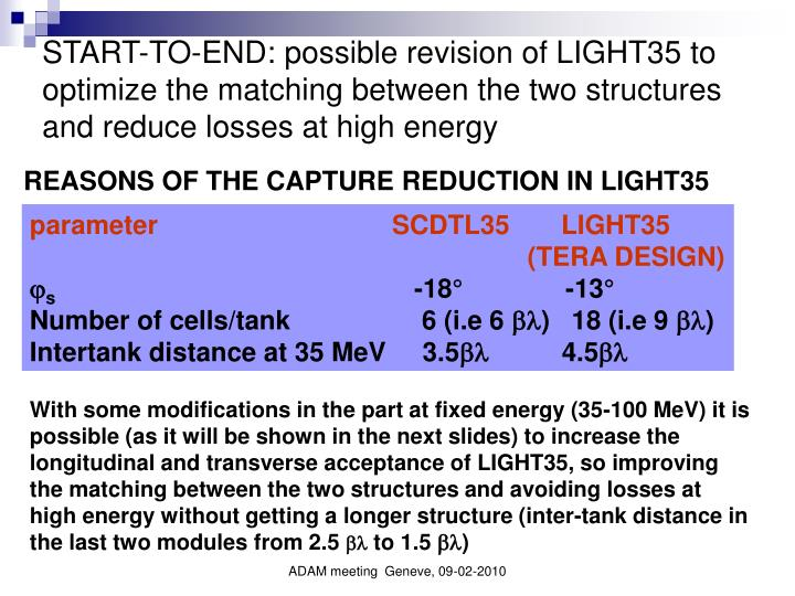 START-TO-END: possible revision of LIGHT35 to optimize the matching between the two structures and reduce losses at high energy