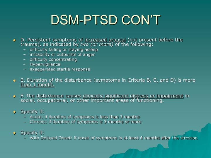 DSM-PTSD CON'T
