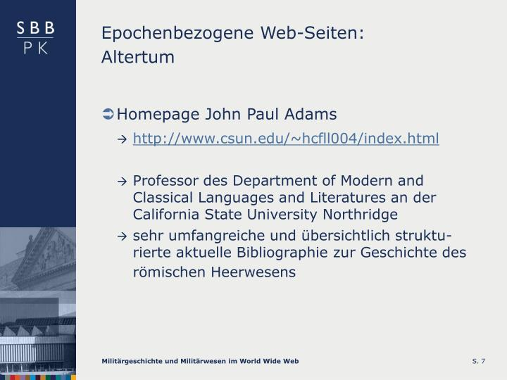 Epochenbezogene Web-Seiten: