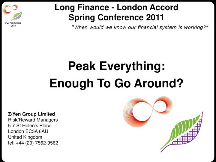 Long finance london accord spring conference 2011