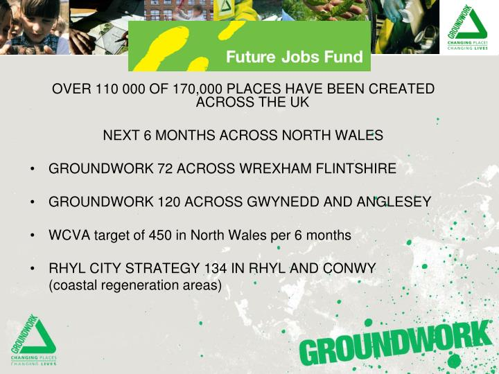 OVER 110 000 OF 170,000 PLACES HAVE BEEN CREATED ACROSS THE UK