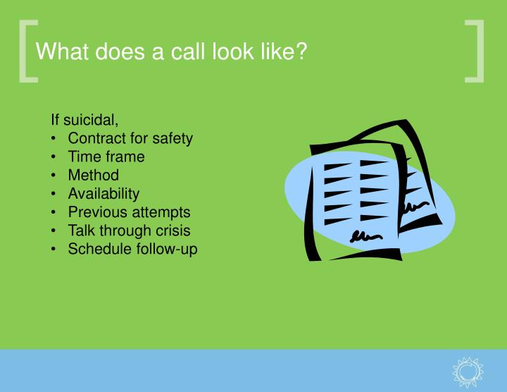 What does a call look like?