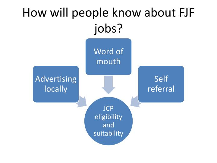How will people know about FJF jobs?