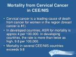 mortality from cervical cancer in cee nis