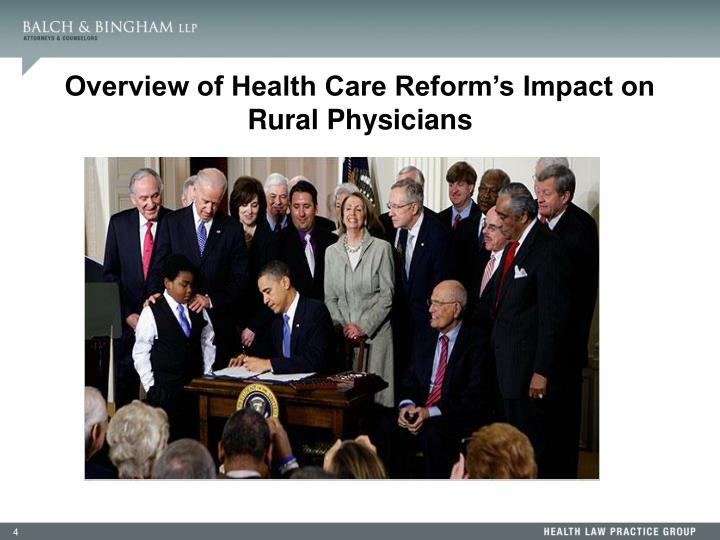 Overview of Health Care Reform's Impact on Rural Physicians