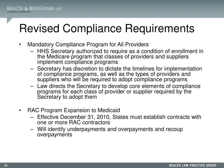 Revised Compliance Requirements