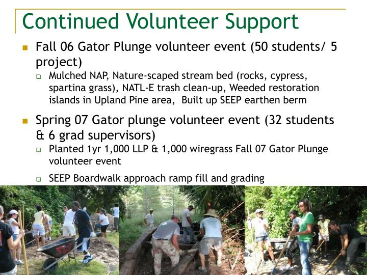 Continued Volunteer Support