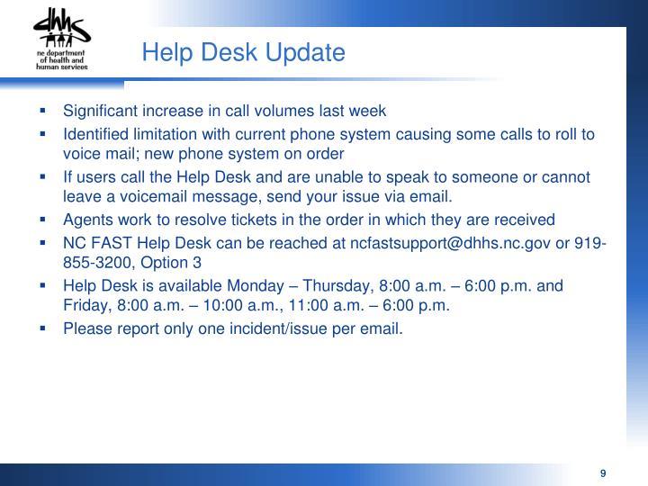 Help Desk Update