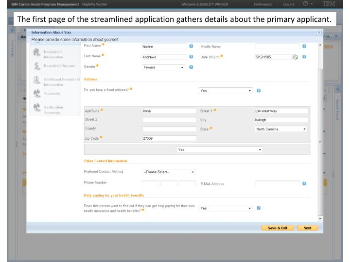 The first page of the streamlined application gathers details about the primary applicant.
